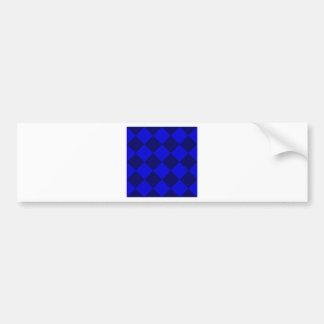 Diag Checkered Large - Blue and Dark Blue Bumper Sticker