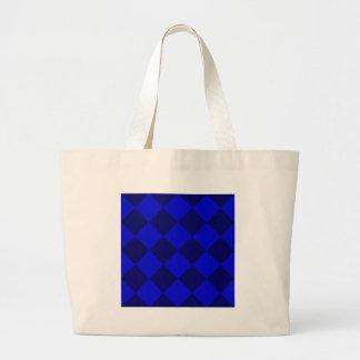 Diag Checkered Large - Blue and Dark Blue Jumbo Tote Bag