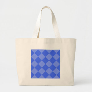 Diag Checkered Large - Blue and Light Blue Jumbo Tote Bag