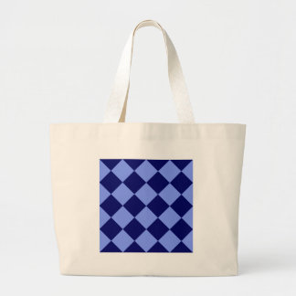 Diag Checkered Large - Light Blue and Dark Blue Jumbo Tote Bag