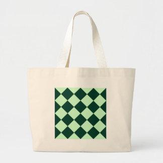 Diag Checkered Large - Light Green and Dark Green Jumbo Tote Bag