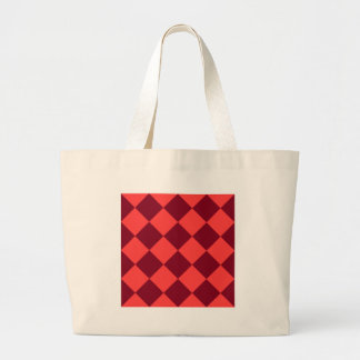 Diag Checkered Large - Light Red and Dark Red Jumbo Tote Bag