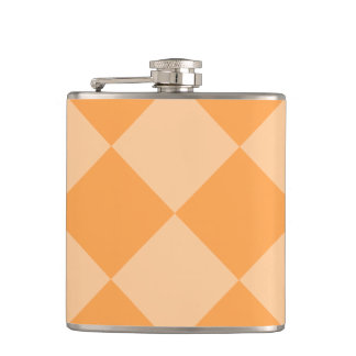 Diag Checkered Large - Orange and Light Orange Flask