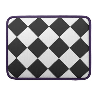 Diag Checkered Large - White and Dark Gray MacBook Pro Sleeves