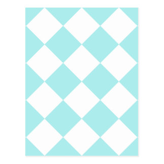 Diag Checkered Large - White and Pale Blue Post Card