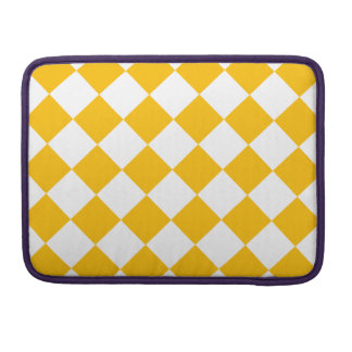 Diag Checkered - White and Amber MacBook Pro Sleeves