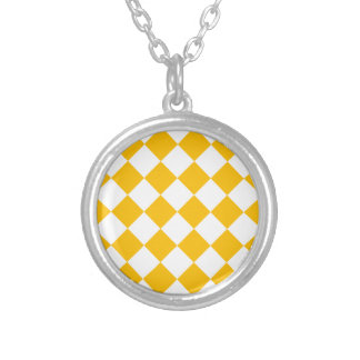 Diag Checkered - White and Amber Silver Plated Necklace