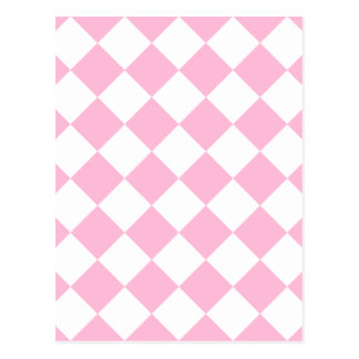 Diag Checkered - White and Cotton Candy Postcard