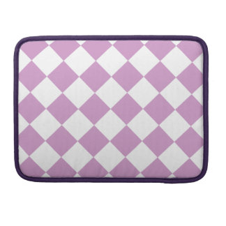 Diag Checkered - White and Light Medium Orchid Sleeves For MacBook Pro