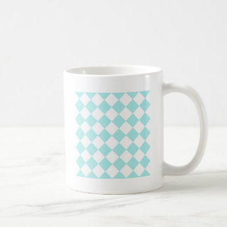 Diag Checkered - White and Pale Blue Coffee Mugs