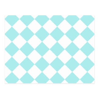 Diag Checkered - White and Pale Blue Postcards