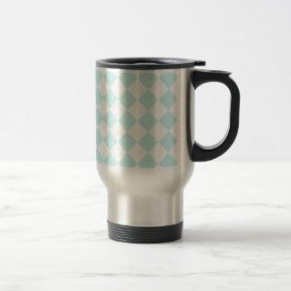 Diag Checkered - White and Pale Blue Stainless Steel Travel Mug