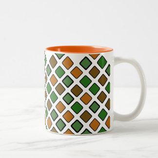 DIAG SQUARES orange Two-Tone Mug