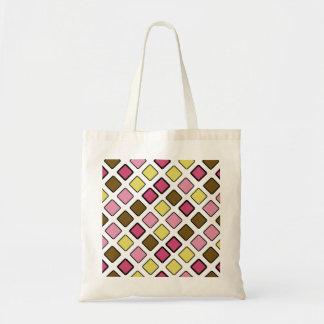 DIAG SQUARES pink&yellow Budget Tote Bag