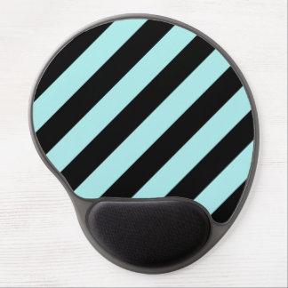 Diag Stripes - Black and Pale Blue Gel Mouse Pads