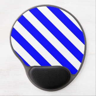 Diag Stripes - White and Blue Gel Mouse Pad
