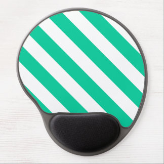 Diag Stripes - White and Caribbean Green Gel Mouse Pad