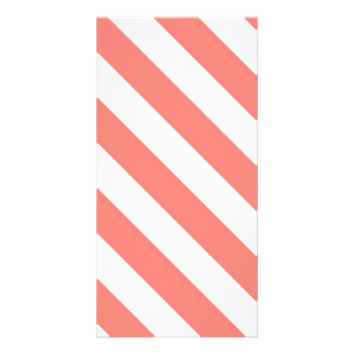Diag Stripes - White and Coral Pink Photo Greeting Card