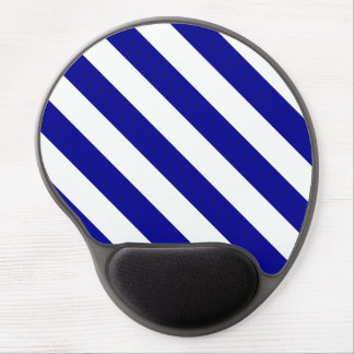 Diag Stripes - White and Dark Blue Gel Mouse Mats