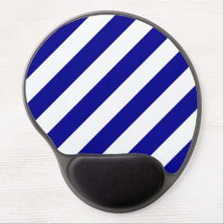 Diag Stripes - White and Dark Blue Gel Mouse Pads