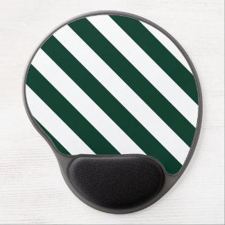 Diag Stripes - White and Dark Green Gel Mousepad
