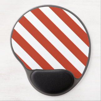 Diag Stripes - White and Dark Pastel Red Gel Mouse Mat