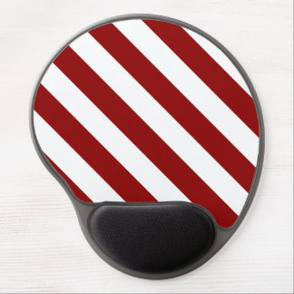 Diag Stripes - White and Dark Red Gel Mousepads