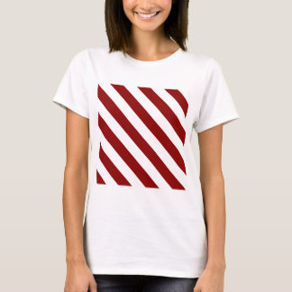 Diag Stripes - White and Dark Red T-Shirt