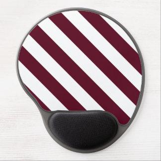 Diag Stripes - White and Dark Scarlet Gel Mousepads