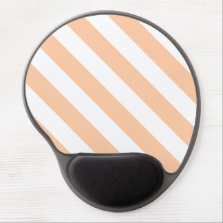 Diag Stripes - White and Deep Peach Gel Mouse Pad