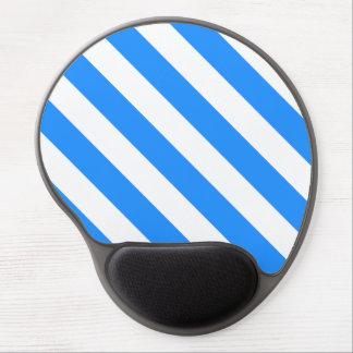 Diag Stripes - White and Dodger Blue Gel Mouse Mats