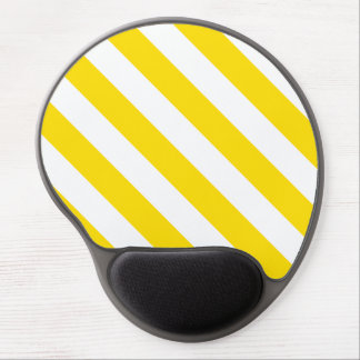 Diag Stripes - White and Golden Yellow Gel Mousepads