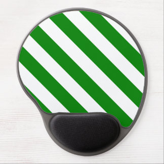 Diag Stripes - White and Green Gel Mouse Pads