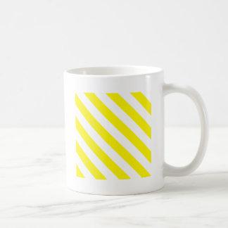 Diag Stripes - White and Lemon Coffee Mugs