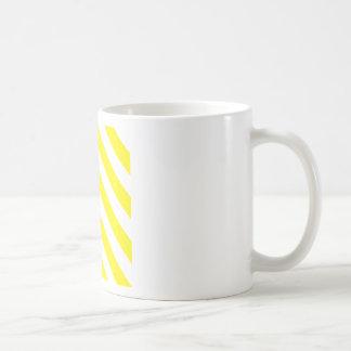 Diag Stripes - White and Lemon Mugs