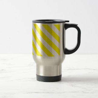 Diag Stripes - White and Lemon Coffee Mug