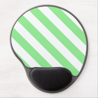 Diag Stripes - White and Light Green Gel Mouse Pad