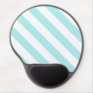 Diag Stripes - White and Pale Blue Gel Mouse Pad