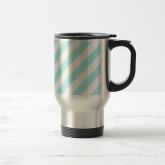 Diag Stripes - White and Pale Blue Coffee Mugs