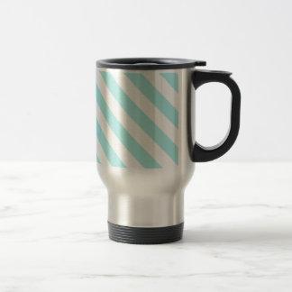 Diag Stripes - White and Pale Blue Coffee Mug