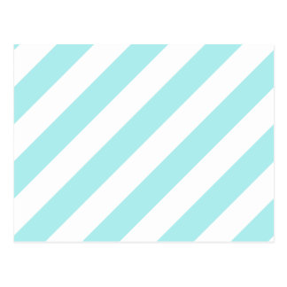 Diag Stripes - White and Pale Blue Post Cards