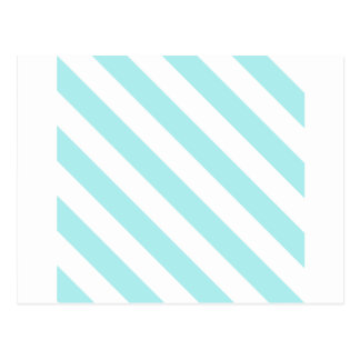 Diag Stripes - White and Pale Blue Post Card