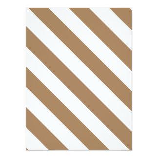 Diag Stripes - White and Pale Brown 17 Cm X 22 Cm Invitation Card