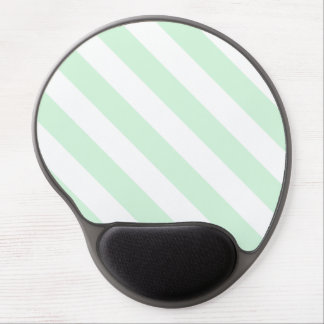 Diag Stripes - White and Pastel Green Gel Mousepads