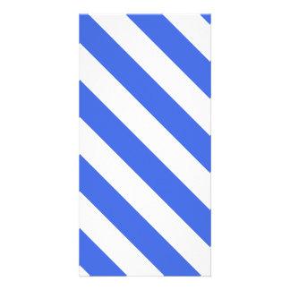 Diag Stripes - White and Royal Blue Photo Card