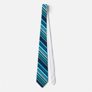 Diagnal Blue Cyan Aqua Stripes Tie