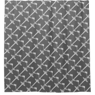 Diagonal anchors charcoal gray shower curtain