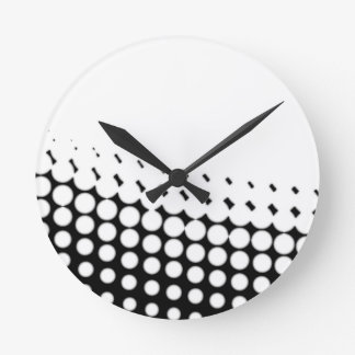 Diagonal B and W Half Tone Round Clock