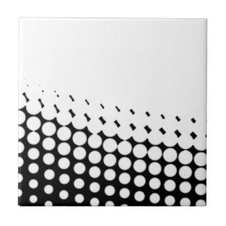 Diagonal B and W Half Tone Small Square Tile
