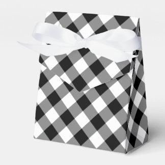 Diagonal Black and White Gingham Plaid favor box